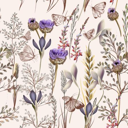Flower vector pattern with plants. Vintage provance style Stok Fotoğraf - 70973080