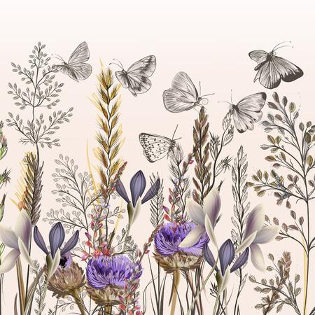 Ilustración floral con flores de campo y mariposas en estilo de la vendimia