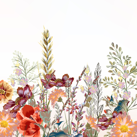 patrones de flores: Floral illustration with field flowers  in vintage style Vectores