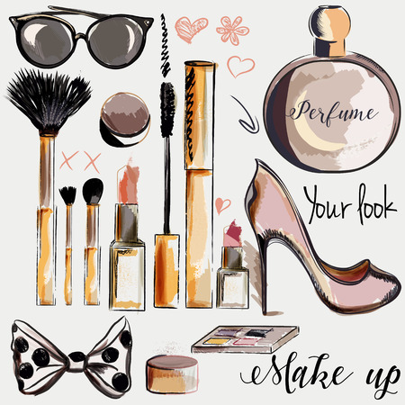 Fashion set of vector make up accessories lipstick mascara perfume brushes in watercolor style