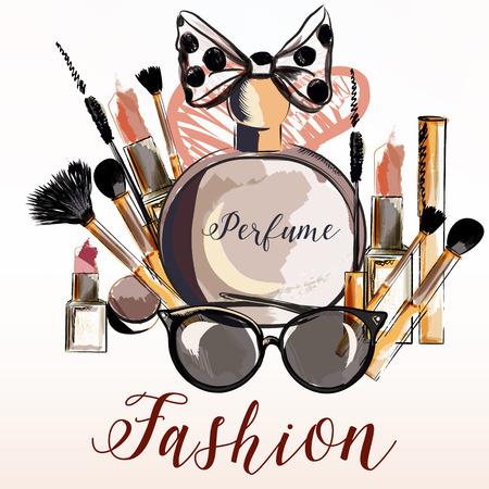 Ilustración de vector de moda con perfume, maquillaje, rimel, lápiz labial para el diseño