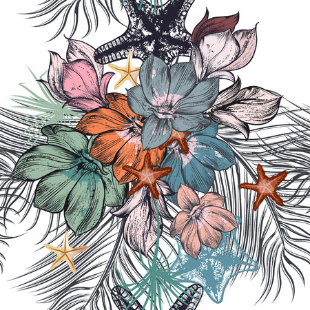 inked: Beautiful illustration pattern with hand drawn tropical palm leafs and magnolia flowers for design Illustration