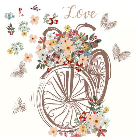かわいい偽手書き春の花の束を持つ自転車