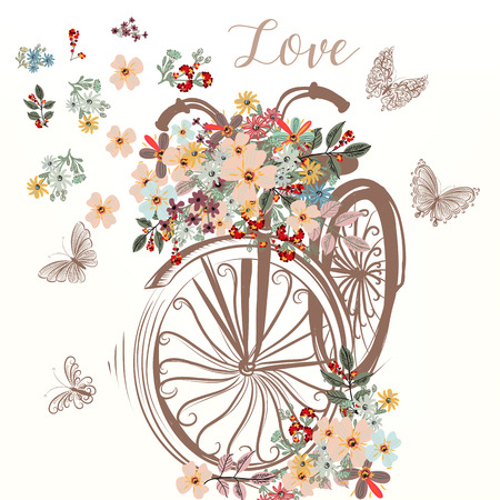 Cute fake hand drawn bicycle with bunch of spring flowers Vettoriali