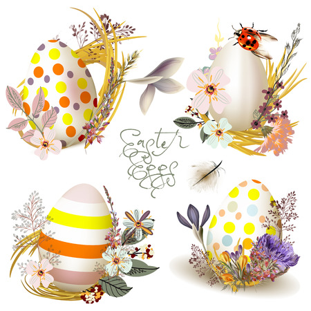 Collection of vector Easter eggs with spring flowers Illustration