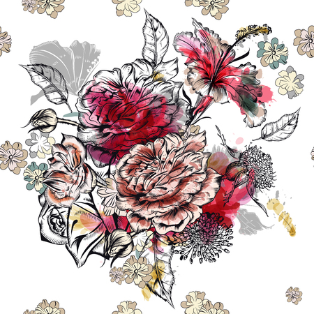 Hand drawn pattern with roses in watercolor style