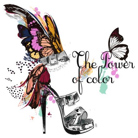 Schöne Modeillustration mit und gezeichneten weiblichen Schuh- und Schmetterlingsflügeln. Die Kraft der Farbe Vektorgrafik
