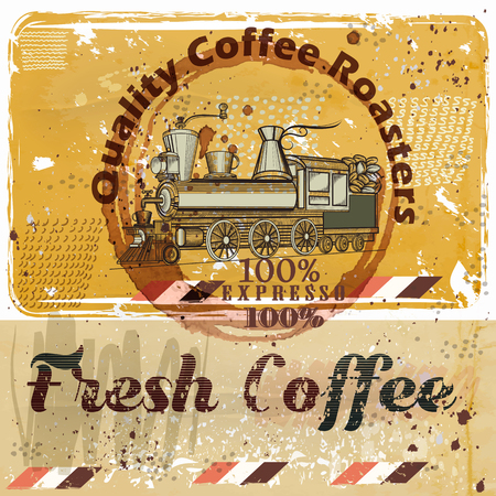 caf: Coffee poster with train, coffee grains on a grunge retro background. Quality fresh coffee