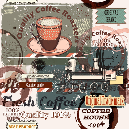 caf: Coffee pattern in retro style with retro labels and spots for design
