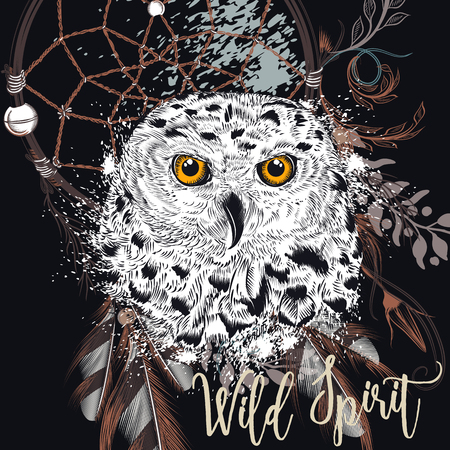 Fashion boho Illustration with dreamcatcher and owl. Wild spirit