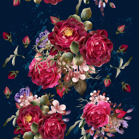 Beautiful pattern in vintage style on a deep blue background with red rose flowers