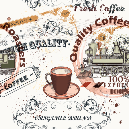 Coffee vector pattern in vintage style with labels, flourishes and spots Illustration
