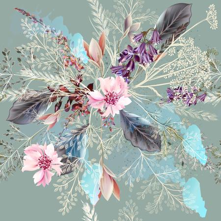 pastel colors: estampado de flores de tela con flores de primavera en estilo realista. Los colores pastel