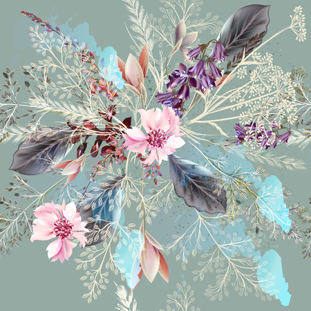 pastel colors: Fabric floral pattern with spring flowers in realistic style. Pastel colors