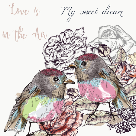 Cute vector illustration with pretty couple of birds. Love is in the air