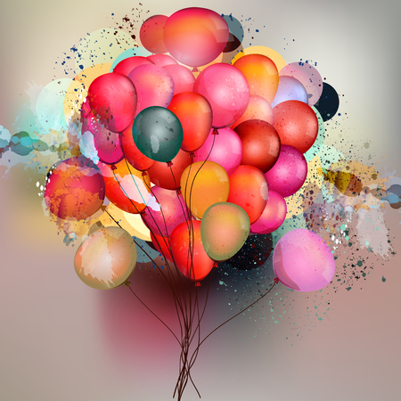 happy anniversary: Abstract vector background with balloons and ink colored spots in psychedelic style