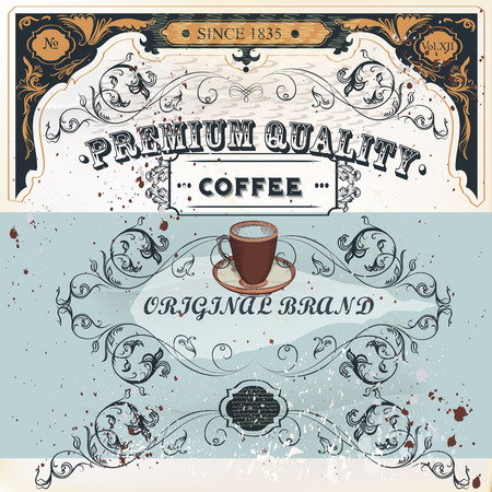 caf: Elegant poster design in retro style on coffee theme