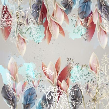 Ilustración floral con flores de primavera en estilo realista. Colores rosa pastel