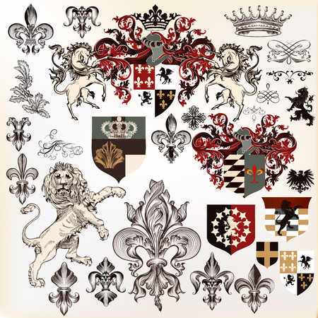 nobel: Collection of heraldic elements  with lion, shield,  griffin etc