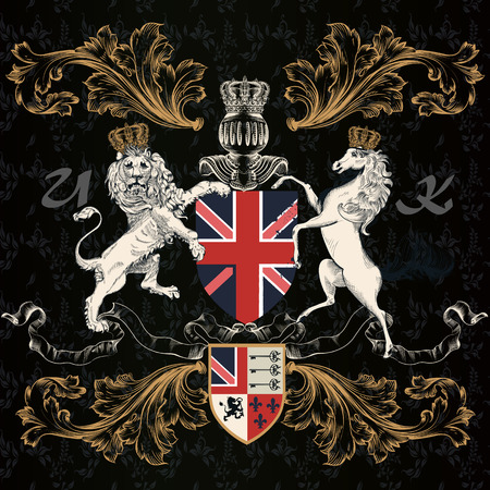 Heraldic English design with lion and horse in vintage style