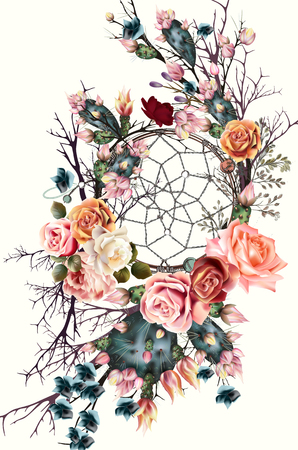 Beautiful boho illustration with dreamcatcher, rose flowers and cactuses