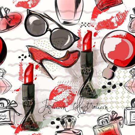 Forme el ejemplo o el modelo con el lápiz labial, los zapatos, los vidrios y el perfume rojos. Estilo de acuarela Ilustración de vector