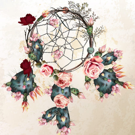 Grunge vector boho background with Indian dreamcatcher and rose flowers in vintage style 矢量图像