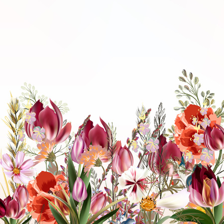 Floral illustration with field flowers and tulips in vintage style