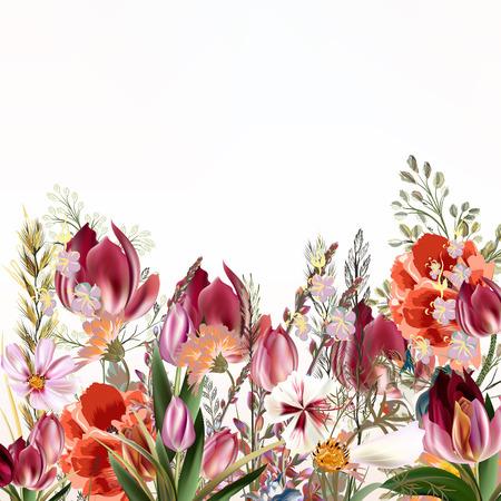 illustration florale avec des fleurs de champ et des tulipes dans le style vintage