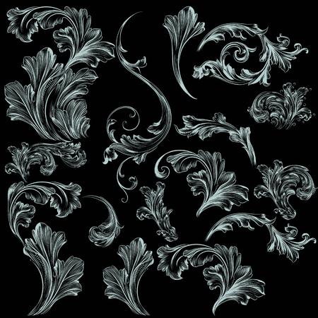 Collectie van vectorwervel bloeit voor ontwerp