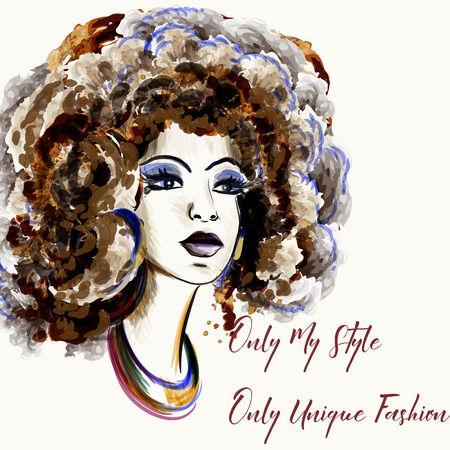 Beautiful fashion illustration in watercolor style with portrait of a girl. fashionable art Ilustrace