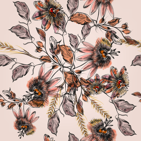 pattern: Beautiful botanical illustration pattern in watercolor with drawn vintage flowers Illustration