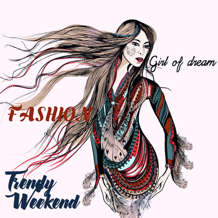 Fashion trendy illustration with beautiful boho girl. Trendy weekend Illustration