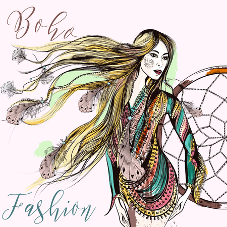 Hermosa ilustración de moda boho con modelo de niña de pelo largo en look tribal de moda, dreamcatcher y plumas