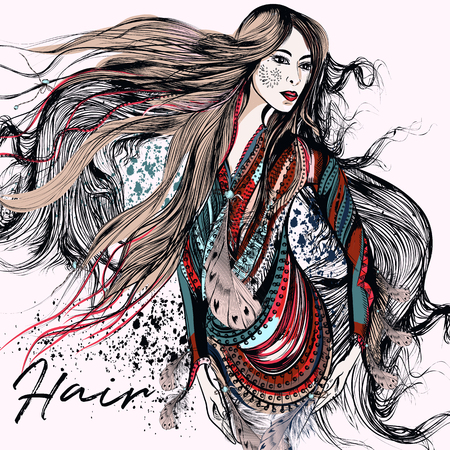 Fashion trendy illustration with beautiful girl and horse. Boho design, be free, wild, follow your dream