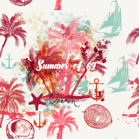 Beautiful tropical vacation pattern with pink palms and grunges. Summer and ocean rest Illustration
