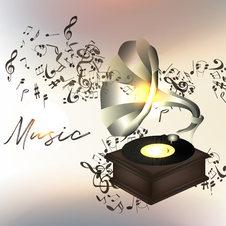 Music background or illustration with notes and gramophone