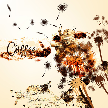 Coffee creative background with dandelion flowers