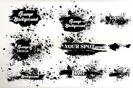 Collection of vector grunge ink spots for design shabby and inked backgrounds, strokes