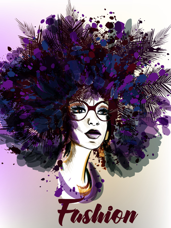 stylish hair: Fashion illustration with beautiful young woman and palm leafs Illustration