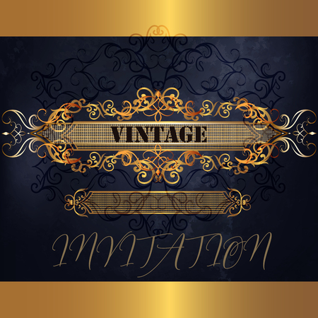 Luxury menu design in blue and golden style