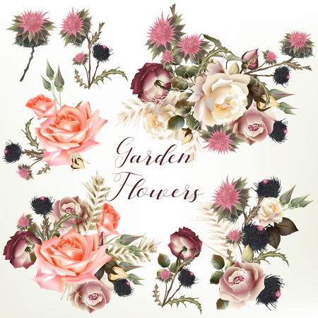 Collection of vector realistic garden flowers