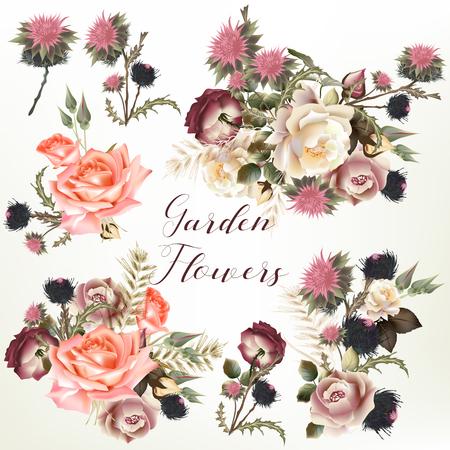 Verzameling van vector realistische tuin bloemen Stock Illustratie
