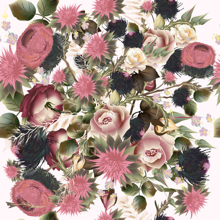rose: Fashion botanical pattern in retro style with roses. Good for fabric designs Illustration