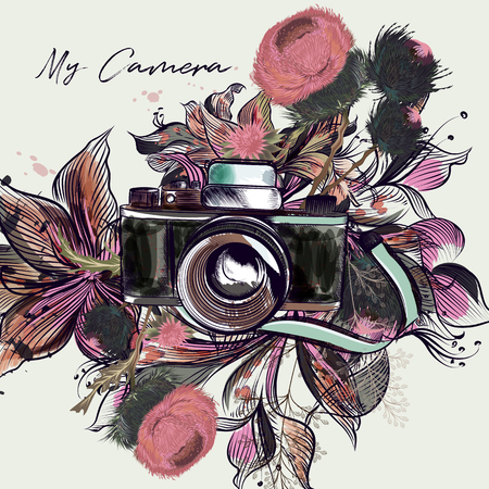 Cute illustration with hipster camera and pink flowers
