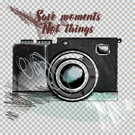 Hipster fashion background with hand drawn camera. Collect moments not things