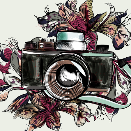 Cute illustration with hipster camera and flowers 向量圖像