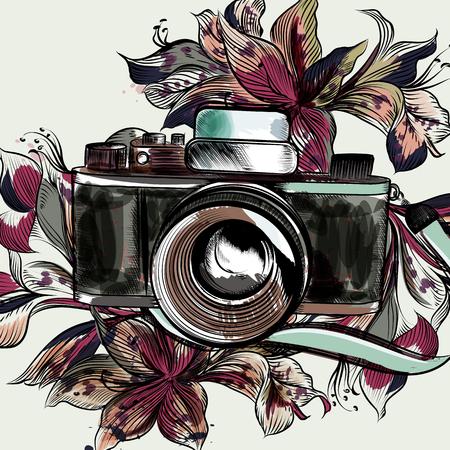 Linda ilustración con cámara inconformista y flores Foto de archivo - 81312053