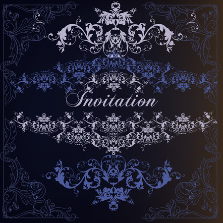 Elegant and luxury invitation card with swirls in blue color Çizim