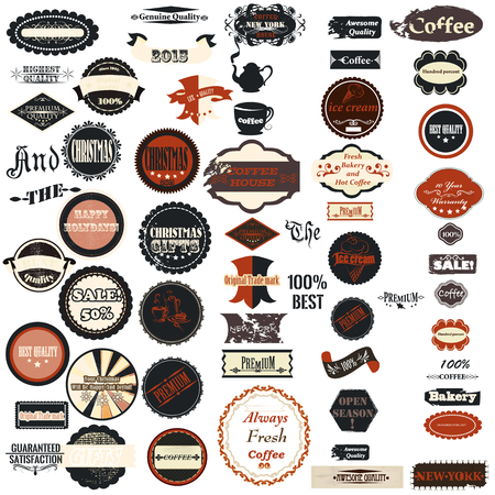 dug: Collection of vector badges labels in retro style Illustration